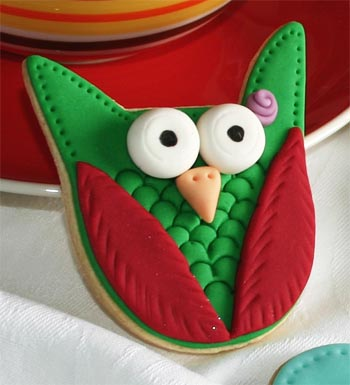 Galleta decorada con forma de búho