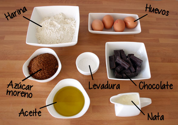 Ingredientes bizcocho de chocolate con Thermomix