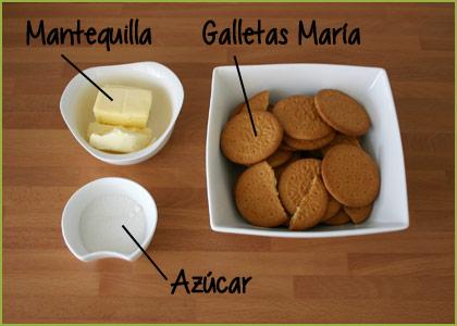 Ingredientes para hacer la base de la tarta de queso