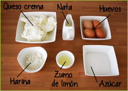 Ingredientes para el relleno de la tarta de queso