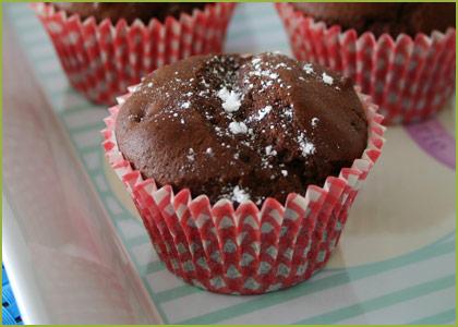 Así quedan los muffins de chocolate sin huevo