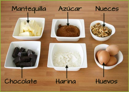 Ingredientes del brownie de chocolate