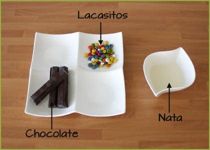 Ingredientes decorar brownie chocolate