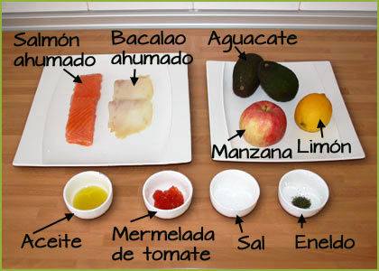 Ingredientes receta de tartar de salmón y aguacate