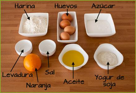 Ingredientes del bizcocho de naranja sin leche