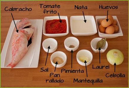 Ingredientes para hacer pastel de cabracho
