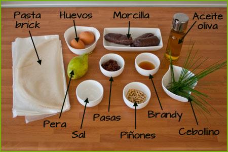 Ingredientes para hacer bocaditos de morcilla