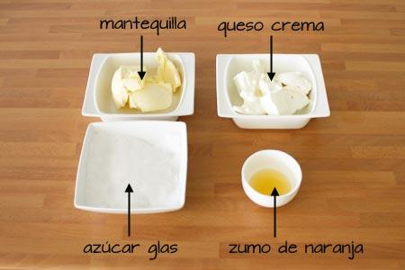 Ingredientes para la crema de queso
