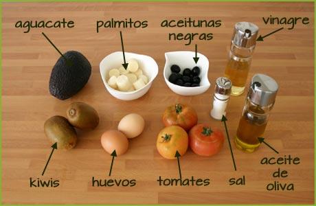 Ingredientes de la ensalada de aguacate original
