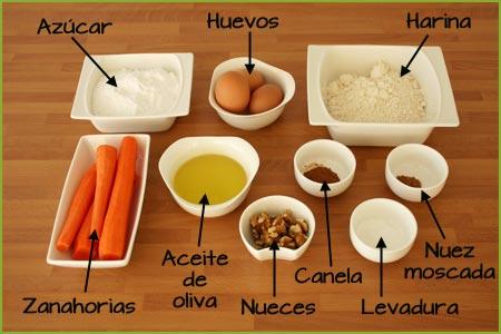 Ingredientes de la tarta de zanahoria