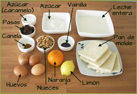 Ingredientes para hacer pudin de pan, pasas y nueces