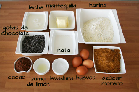 Ingredientes para hacer bundt cake de chocolate