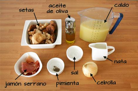 Ingredientes para hacer la crema de setas con crujiente de jamón