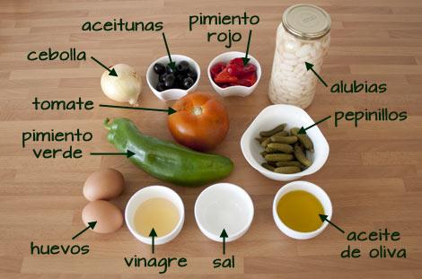 Ingredientes para hacer la ensalada de alubias a la vinagreta
