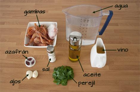 Ingredientes para hacer el fumet del arroz caldoso