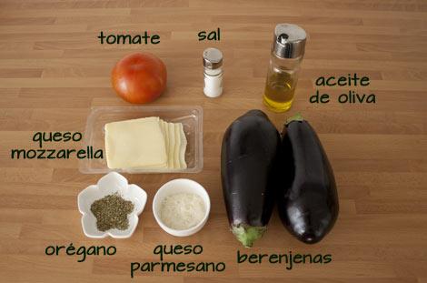 Ingredientes para hacer el milhojas de berenjenas y mozzarella