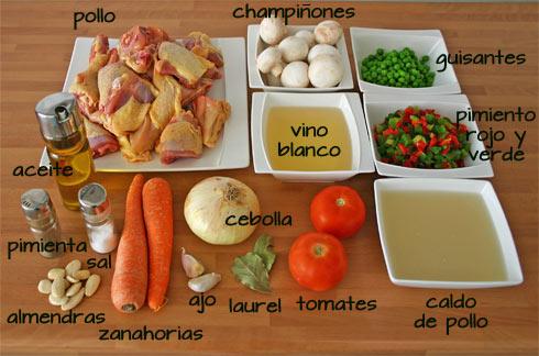 Ingredientes para hacer el guiso de pollo a la jardinera