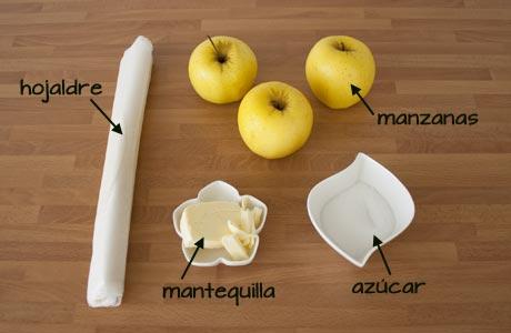 Ingredientes de la tarta fina de manzana
