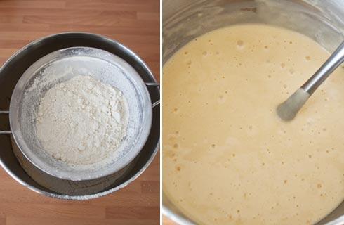 Tamizar y mezclar la harina para hacer magdalenas caseras y esponjosas