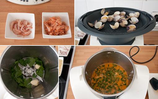 Preparar el fumet del arroz caldoso y reservar