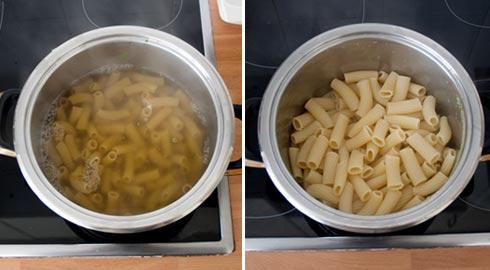 Cocer la pasta en el agua de las espinacas