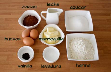 Ingredientes de para hacer cupcakes de chocolate negro