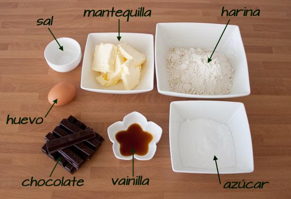 Ingredientes para hacer las pastas de té rizadas