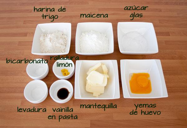 Ingredientes de los alfajores de maicena y dulce de leche
