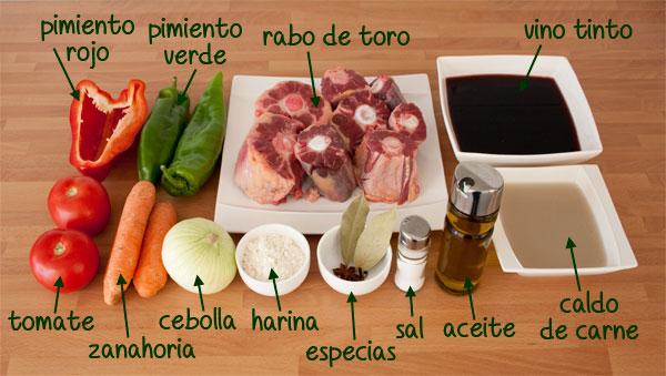 Ingredientes para hacer una deliciosa receta tradicional del rabo de toro