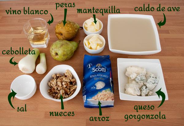 Ingredientes para hacer la receta de risotto de gorgonzola, peras y nueces