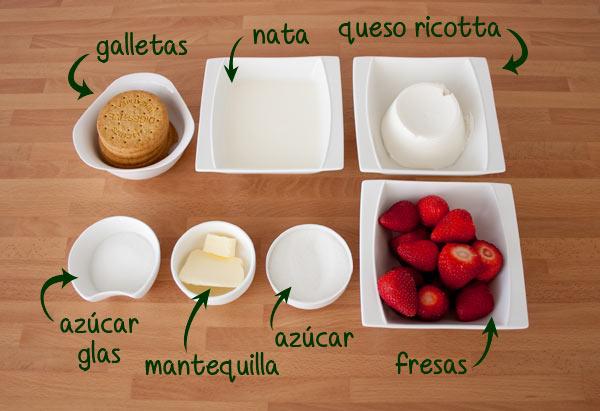 Ingredientes para hacer una tarta de queso deliciosa y rápida en vasitos