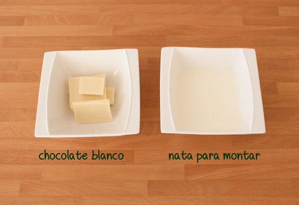 Ingredientes del relleno de mousse de chocolate blanco