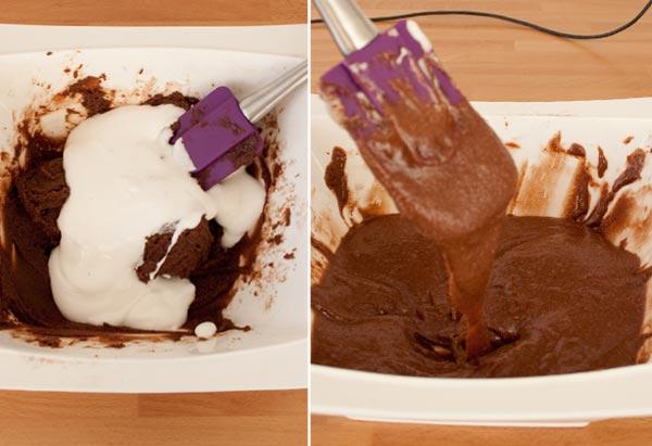 Mezclar el merengue italiano con el mazapán. Formar la masa de los macarons de chocolate