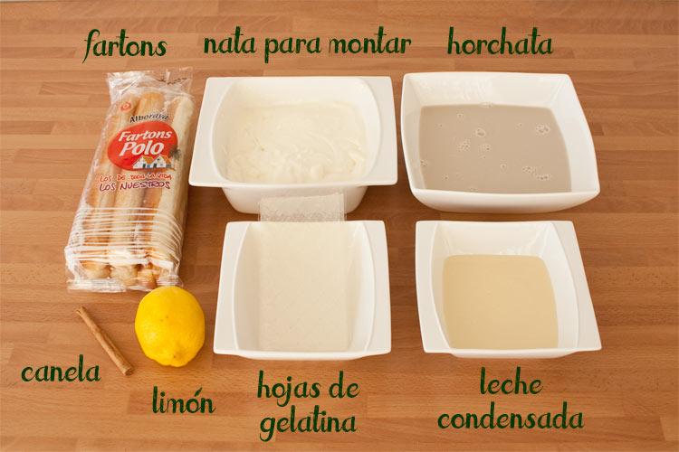 Ingredientes para hacer tarta de horchata con fartons