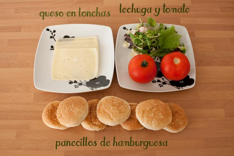 Ingredientes para hacer las hamburguesas de pollo caseras