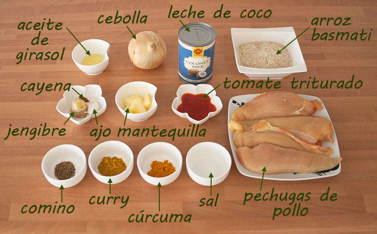 Ingredientes para hacer pollo al curry con arroz basmati