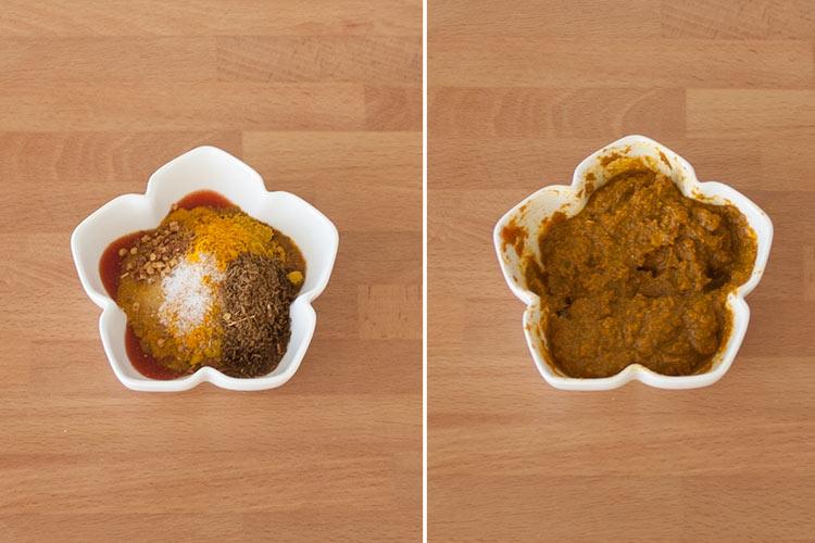 Mezclar las especias con el tomate triturado para hacer el pollo al curry