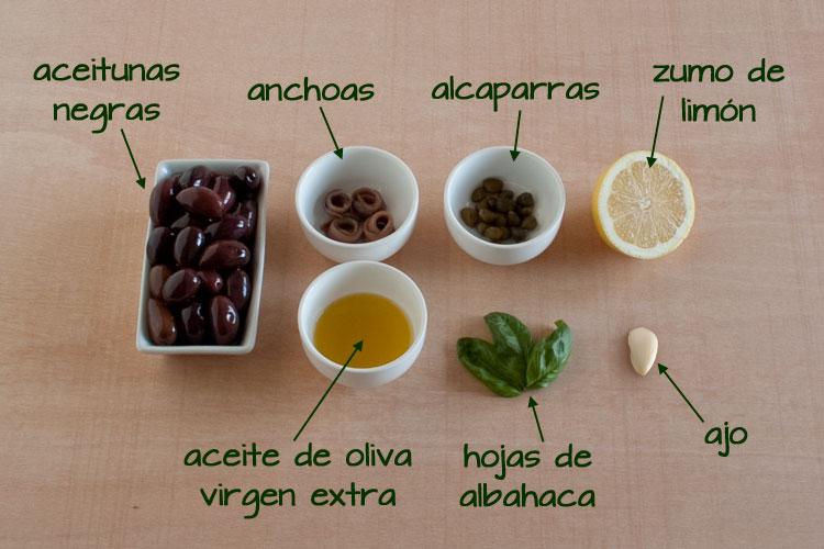 Ingredientes para hacer tapenade