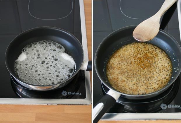 Preparar el caramelo del pudin de pasas y nueces