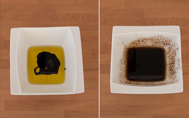 Preparar la vinagreta con el aceite, el vinagre y un pellizco de sal