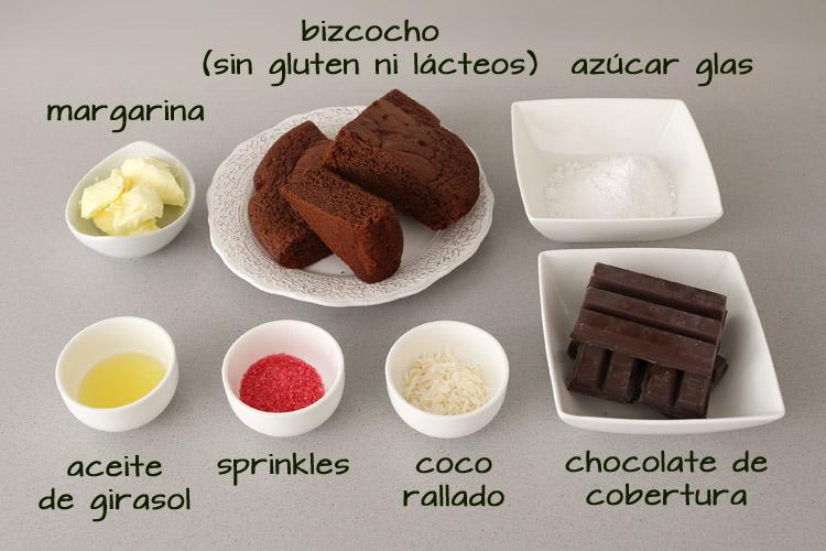 Ingredientes para hacer cake pops sin gluten ni leche