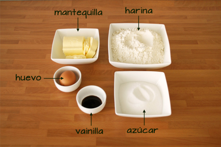 Ingredientes para hacer galletas navideñas de mantequilla