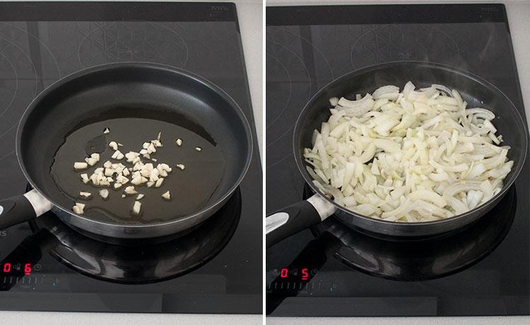 Dorar los ajos y pochar la cebolla