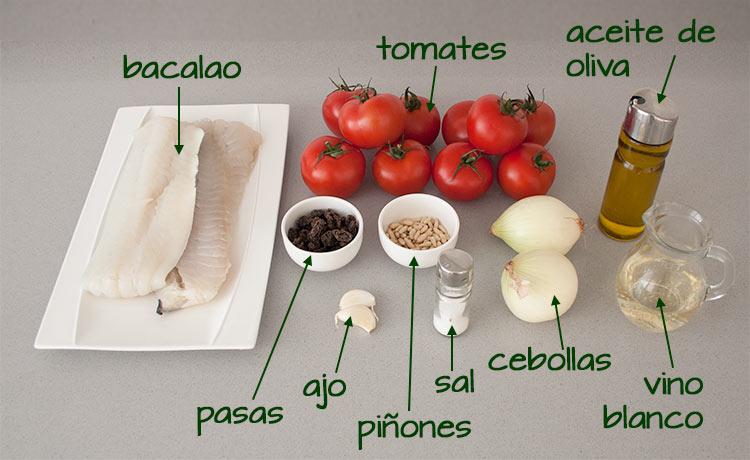 Ingredientes para hacer bacalao con tomate, pasas y piñones
