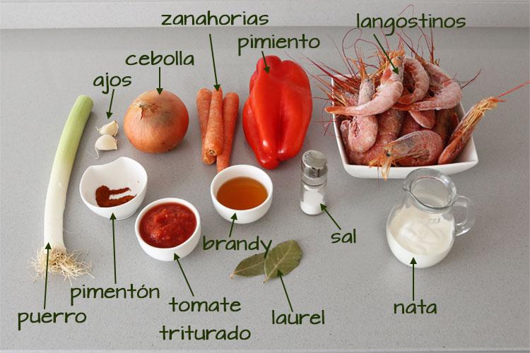 Ingredientes para hacer crema de marisco