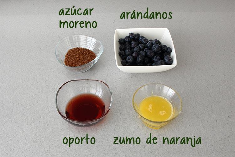 Ingredientes para hacer salsa de arándanos
