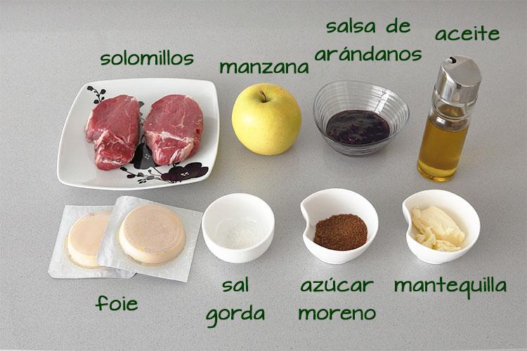 Ingredientes para hacer solomillo con foie, manzana y salsa de arándanos