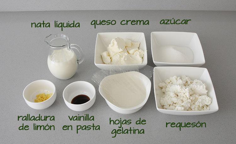 Ingredientes para hacer tarta de queso sin horno