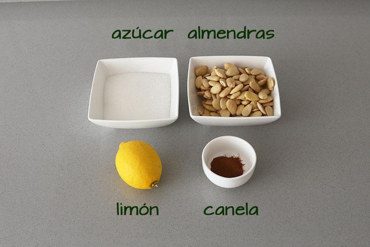 Ingredientes para hacer turrón a la piedra