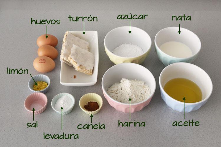 Ingredientes para hacer bizcocho de turrón duro o de Alicante